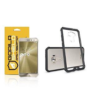 """Kit Capa Ultra Slim Air Preta e Película de vidro dupla para Asus Zenfone 3 - ZE552KL - 5.5"""" polegadas - Gorila Shield"""