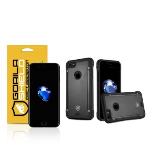 Kit Capa Black Shield e Película de vidro dupla para iPhone 7 - Gorila Shield