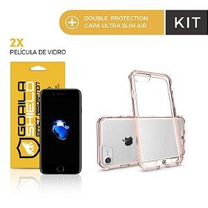 Kit Capa Ultra Slim Air Rosa e Película de Vidro para iPhone 7 - Double Protection - Gorila Shield