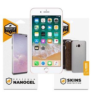 Película Nano Gel Dupla + traseira fibra de carbono para iPhone 7 Plus - Gshield (Cobre toda tela)