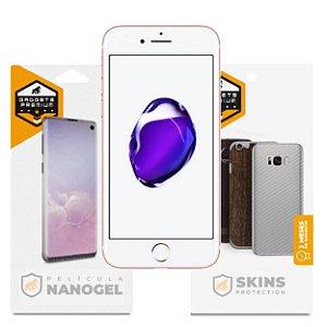 Película Nano Gel Dupla + traseira fibra de carbono para iPhone 7 - Gshield (Cobre toda tela)
