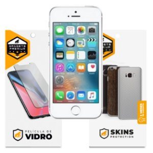 Película de Vidro Dupla + Traseira Fibra de Carbono para iPhone 5S - Gshield