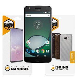 Película Nano Gel Dupla + traseira fibra de carbono para Motorola Moto Z Play - Gshield (Cobre toda tela)