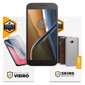 Película de Vidro Dupla + Traseira Fibra de Carbono para Motorola Moto G4 - Gshield