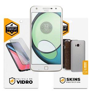 Película de Vidro Dupla + Traseira Fibra de Carbono para Motorola Moto Z Play - Gshield