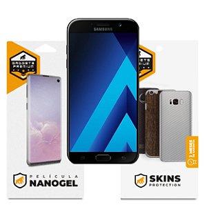 Película Nano Gel Dupla + traseira fibra de carbono para Samsung Galaxy A7 2017 – Gshield (Cobre toda tela)