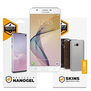 Película Nano Gel Dupla + traseira fibra de carbono para Samsung Galaxy J7 Prime - Gshield (Cobre toda tela)