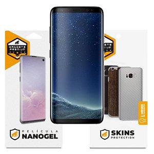Película Nano Gel Dupla + traseira fibra de carbono para Samsung Galaxy S8 - Gshield (Cobre toda tela)