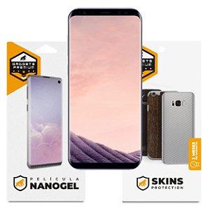 Película Nano Gel Dupla + traseira fibra de carbono para Samsung Galaxy S8 Plus - Gshield (Cobre toda tela)