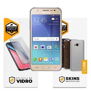 Película de Vidro Dupla + Traseira fibra de carbono para Samsung Galaxy J5 Metal - Gshield