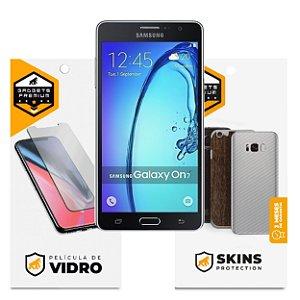 Película de Vidro Dupla + Traseira fibra de carbono para Samsung Galaxy ON7 - Gshield