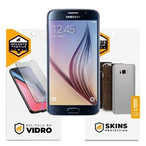 Película de Vidro Dupla + Traseira fibra de carbono para Samsung Galaxy S6 - Gshield