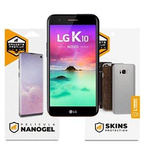 Película Nano Gel Dupla + traseira fibra de carbono para LG K10 2017 - Gshield (Cobre toda tela)