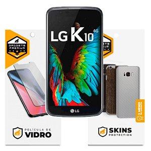 Película de Vidro Dupla + Traseira Fibra de Carbono para LG K10 - Gshield