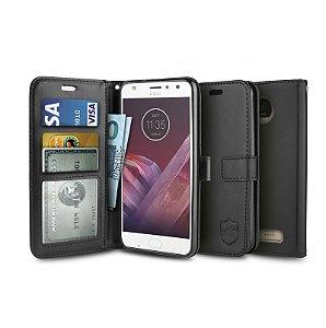 Capa Carteira Preta para - Motorola Moto Z2 Play - Gorila Shield
