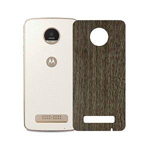 Skin Película Traseira Madeira Escura para Motorola Moto Z Play - Gorila Shield