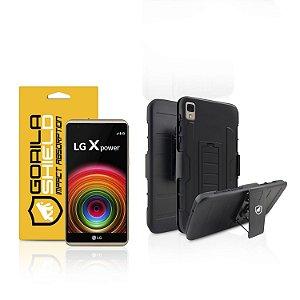 Kit Capa Clip e Película de vidro dupla para LG X power - Gorila Shield