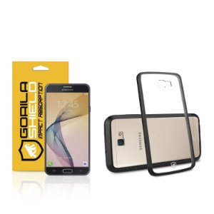 Kit  Capa Ultra Slim Air Preta e pelicula de vidro para samsung galaxy   J7 prime - Double Protection – Gorila S