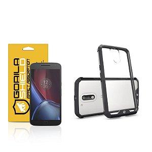 Kit Capa Ultra Slim Air Preta e Película de vidro dupla para Motorola Moto G4 plus - Gorila Shield