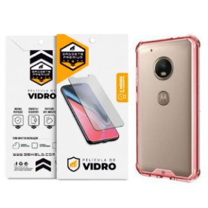 Kit Capa Ultra Slim Air Rosa e Película de vidro dupla para Motorola Moto G5 Plus - Gshield