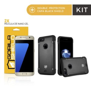 Kit Capa Black Shield e Película de nano gel dupla para Samsung S7 Edge - Gorila Shield