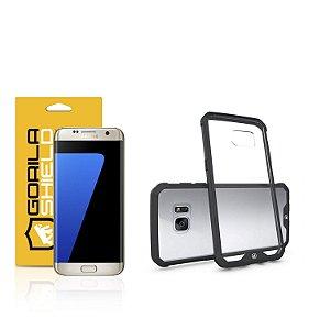 Kit Capa Ultra Slim Air Preta e Película de vidro dupla para samsung galaxy S7 Flat - Gorila Shield