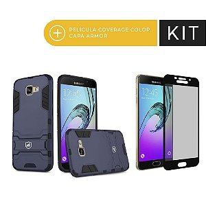 Kit Capa Armor e Película Coverage Preta para Galaxy A7 2017 - Gorila Shield