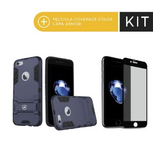 Kit Capa Armor e Película Coverage Preta para iPhone 7 - Gorila Shield