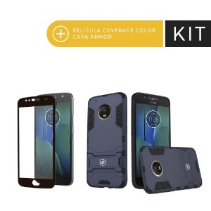 Kit Capa Armor e Película Coverage Preta para Moto G5S Plus  - Gorila Shield