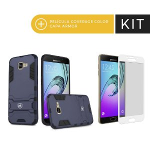 Kit Capa Armor e Película Coverage Branca para Galaxy A7 2017 - Gorila Shield