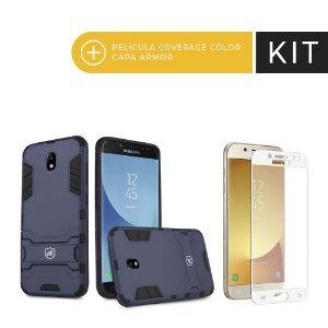 Kit Capa Armor e Película Coverage Branca para Galaxy J7 Pro - Gorila Shield