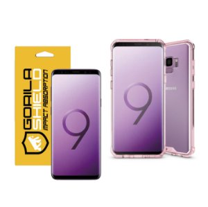 KIT CAPA ULTRA SLIM AIR ROSA E PELÍCULA NANO GEL DUPLA PARA GALAXY S9 - GORILA SHIELD