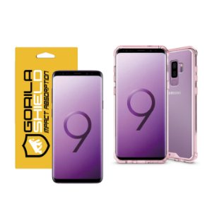 KIT CAPA ULTRA SLIM AIR ROSA E PELÍCULA NANO GEL DUPLA PARA GALAXY S9 PLUS - GORILA SHIELD