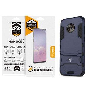 Kit Capa Armor e Película Nano Gel Dupla para Motorola Moto G6 Plus - Gshield