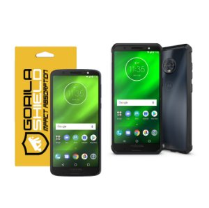 KIT CAPA ULTRA SLIM AIR PRETA E PELÍCULA NANO GEL DUPLA PARA MOTOROLA MOTO G6 PLUS - GORILA SHIELD