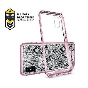 Capa Ultra Slim Rosa Rendada para iPhone X - Gorila Shield