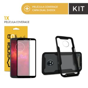 Kit Capa Dual Shock e Película Coverage Color Preta para Moto Z3 Play - Gorila Shield