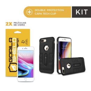 Kit Capa Tech Clip e Película de Vidro Dupla para Iphone 8 Plus - Gorila Shield