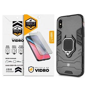 Kit Capa Defender Black e Película de Vidro Dupla para iPhone X e iPhone XS - Gshield