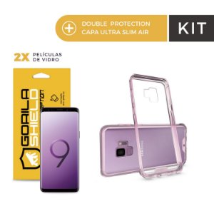 Kit Capa Ultra Slim Air Rosa e Película de Nano Gel Dupla para Galaxy S9 - Gorila Shield