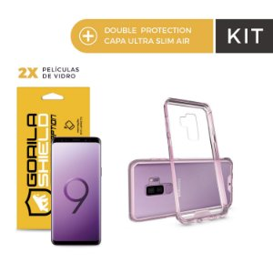 Kit Capa Ultra Slim Air Rosa e Película de Nano Gel Dupla para Galaxy S9 Plus - Gorila Shield