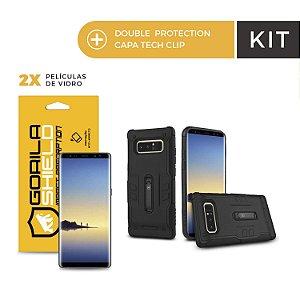 Kit Capa Tech Clip e Película de Vidro Dupla para Galaxy Note 8 - Gorila Shield