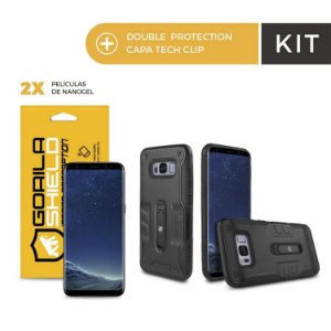 Kit Capa Tech Clip e Película de Nano Gel Dupla para Galaxy S8 Plus - Gorila Shield