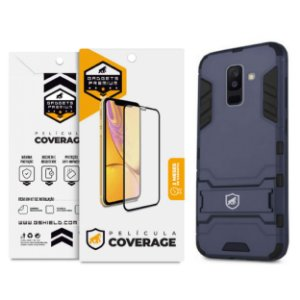 Kit Capa Armor e Película Coverage Color Preta para Galaxy A6 Plus - Gshield