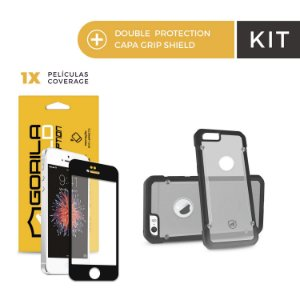 Kit Capa Grip Shield e Película Coverage Color Preta para Iphone 6s - Gorila Shield