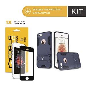Kit Capa Armor e Película Coverage Color Preta para Iphone 6s - Gorila Shield