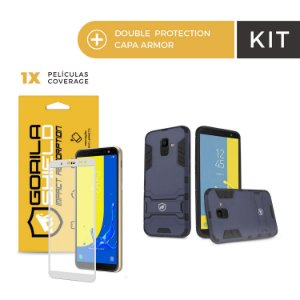 Kit Capa Armor e Película Coverage Color Branca para Galaxy J4 - Gorila Shield