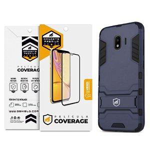 Kit Capa Armor e Película Coverage Color Branca para Galaxy J4 - Gshield