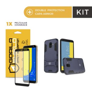Kit Capa Armor e Película Coverage Color Preta para Galaxy J4 - Gorila Shield