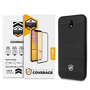 Kit Capa Viper e Pelicula Coverage Color Preta para Galaxy J7 Pro - Gshield